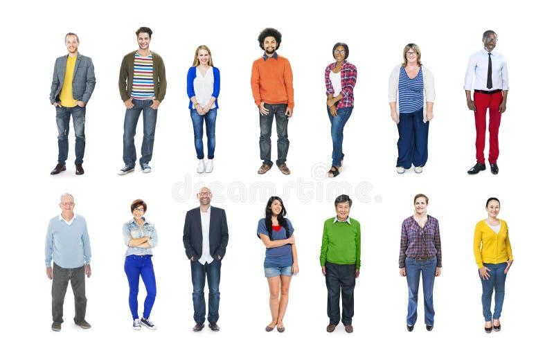 小组不同种族的不同的五颜六色的人民 库存照片