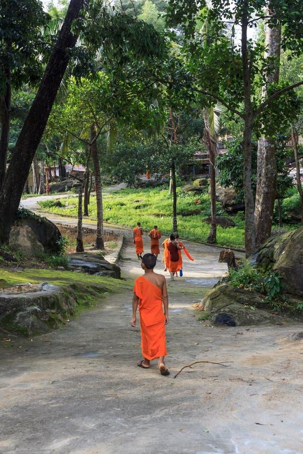 小组年轻东南亚和尚在寺庙公园走 免版税库存照片