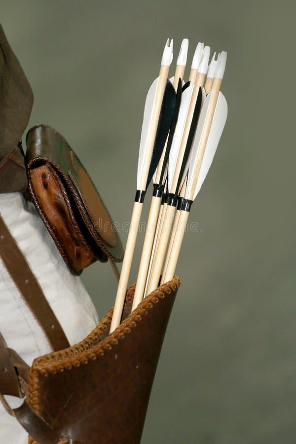 小组中世纪弓的箭头在颤抖的 免版税库存照片