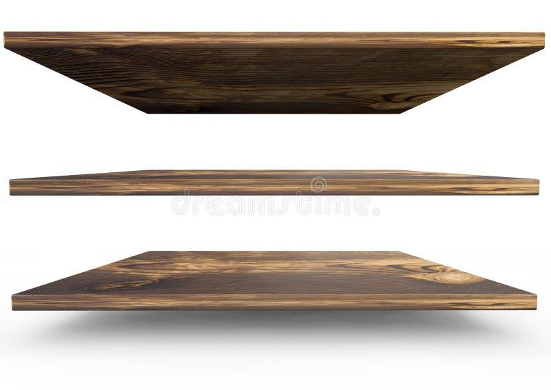 小组产品显示的空的木书架在w 皇族释放例证