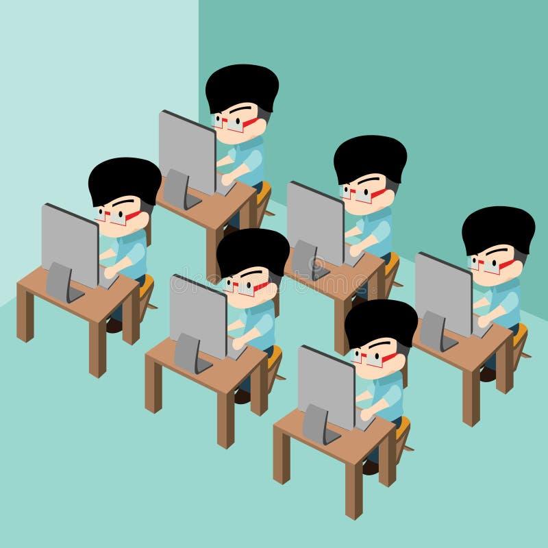 小组使用个人计算机计算机的商人在办公室屋子工作场所里 库存图片