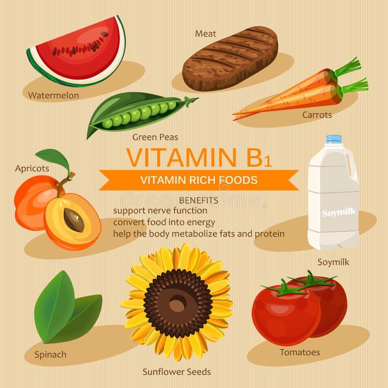 小组健康水果、菜、维生素B1和矿物食物 传染媒介平的象图形设计 横幅倒栽跳水例证 向量例证