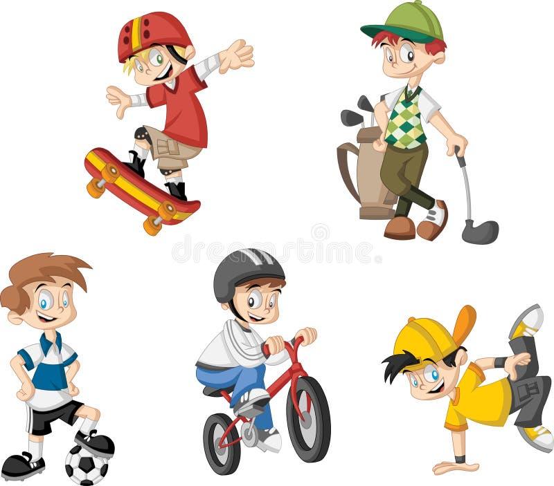小组动画片男孩使用 库存例证