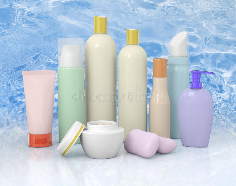 小组化妆用品瓶 免版税库存照片