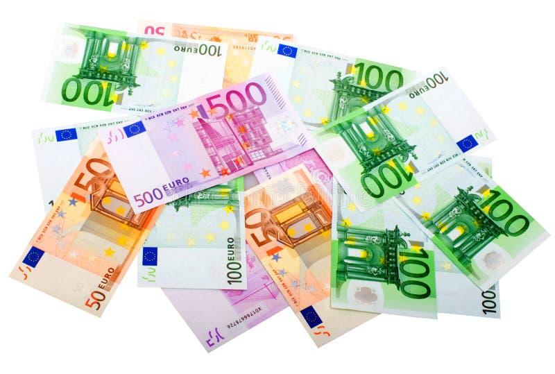 小组各种各样的欧洲钞票 免版税库存图片