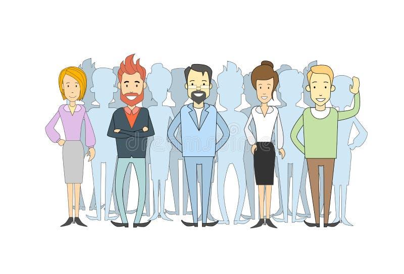 小组商人偶然人群男人和妇女 库存例证