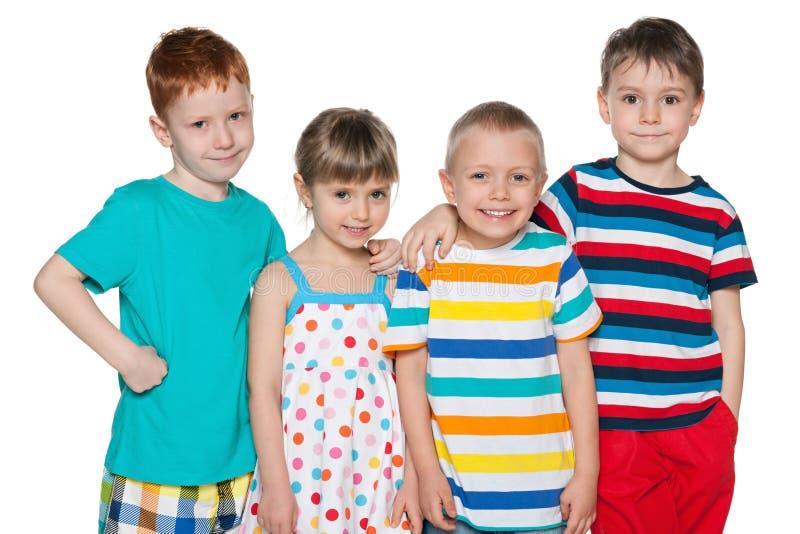 小组四个快乐的孩子 库存照片