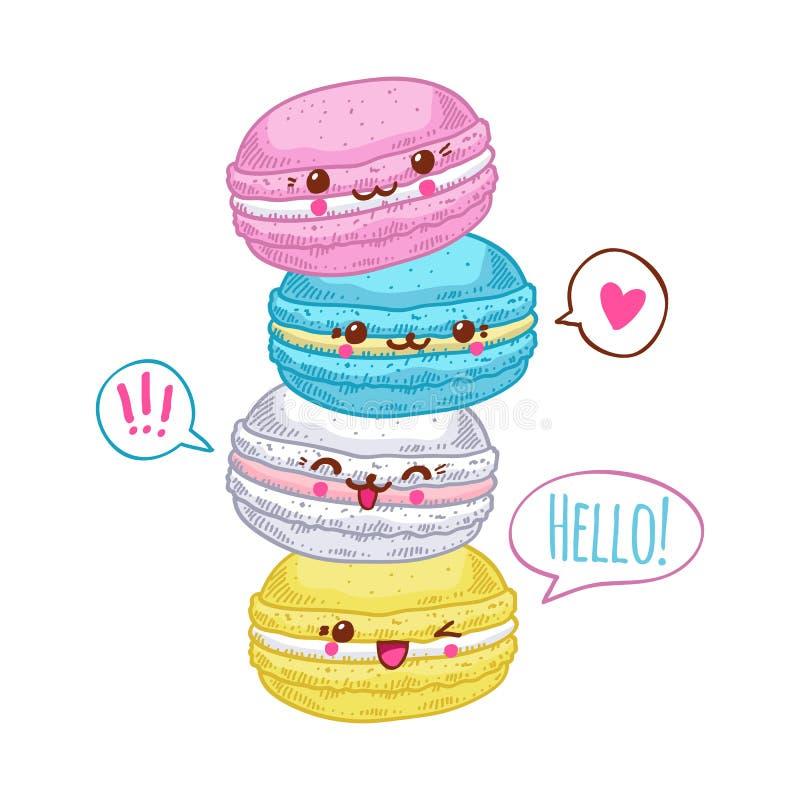 小组四逗人喜爱的kawaii macarons 向量例证