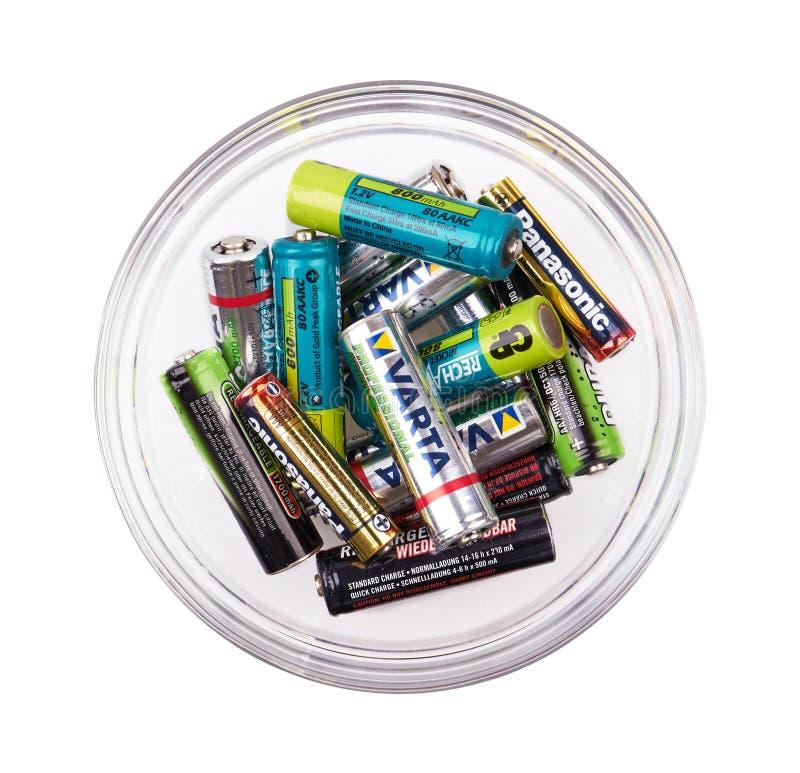 小组在杯子的电池 免版税库存图片