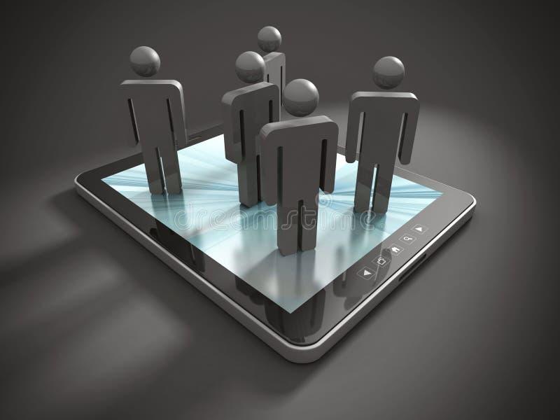 小组在片剂个人计算机的3d PeopleTeam 库存例证