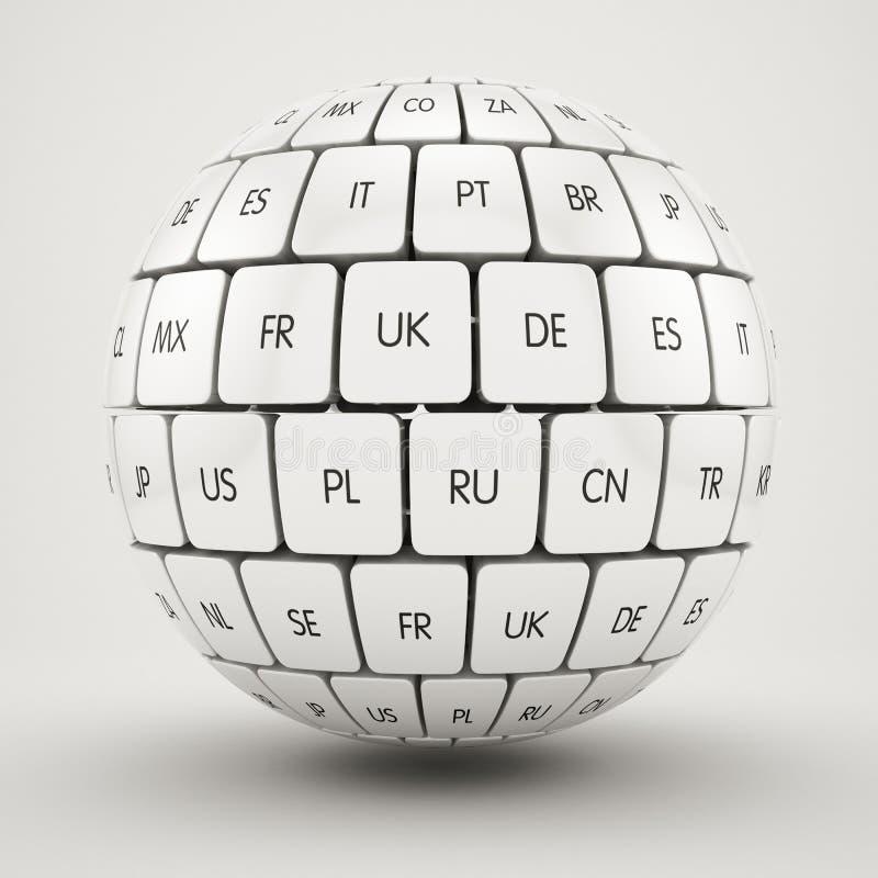 小组在球形形状的翻译立方体 皇族释放例证