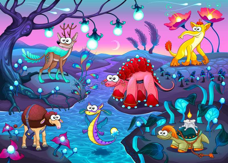小组在幻想风景的滑稽的动物 向量例证