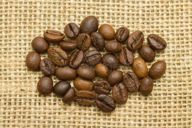 小组在麻袋布的咖啡豆 库存照片