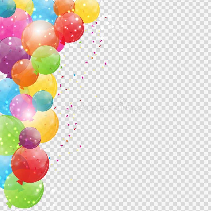 小组在Transperent背景隔绝的颜色光滑的氦气气球 套气球和旗子Birthd的 皇族释放例证