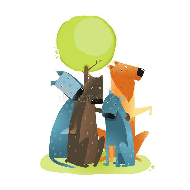 小组坐在树下的动画片狗 库存例证