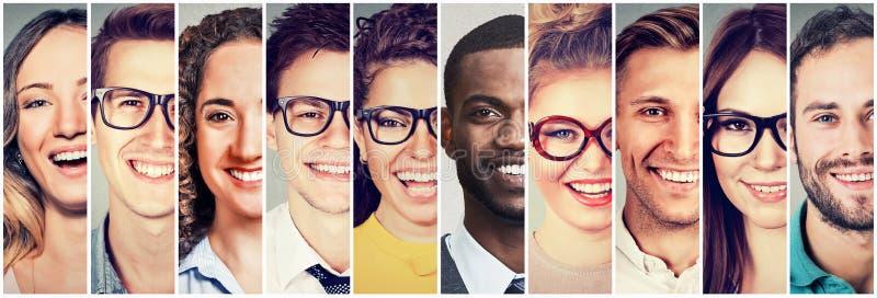 小组多文化人男人和妇女微笑 免版税库存照片