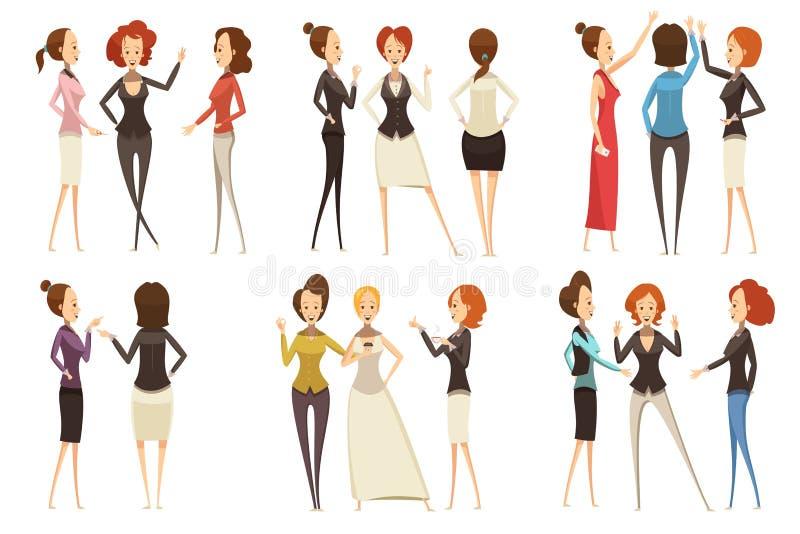 小组女实业家动画片样式集合 库存例证
