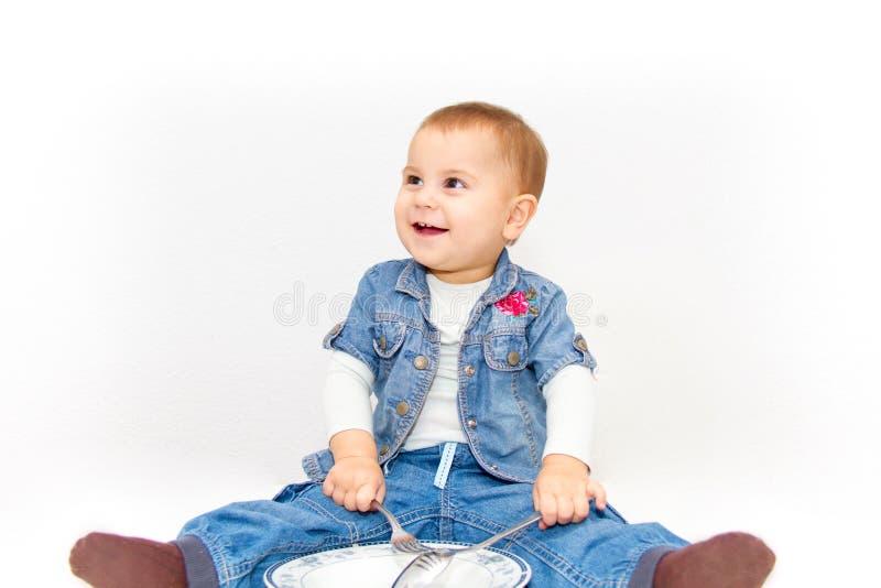 小年轻女婴要吃 库存照片