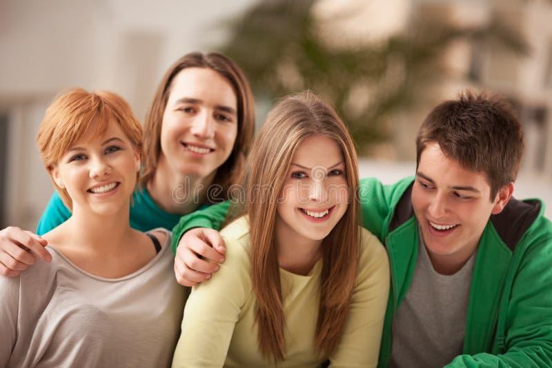 小组少年微笑 免版税图库摄影