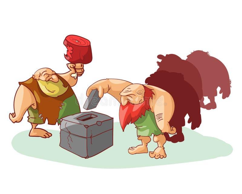 小组穴居人投票 向量例证