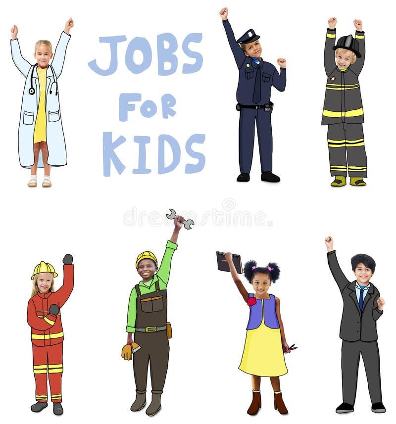 小组工作的孩子孩子概念的 向量例证