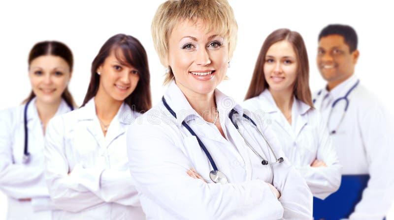 小组微笑的医院同事 库存图片