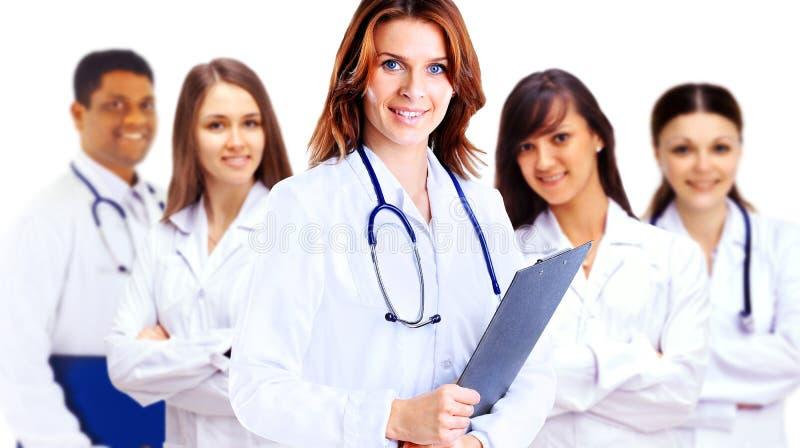 小组微笑的医院同事 免版税库存照片