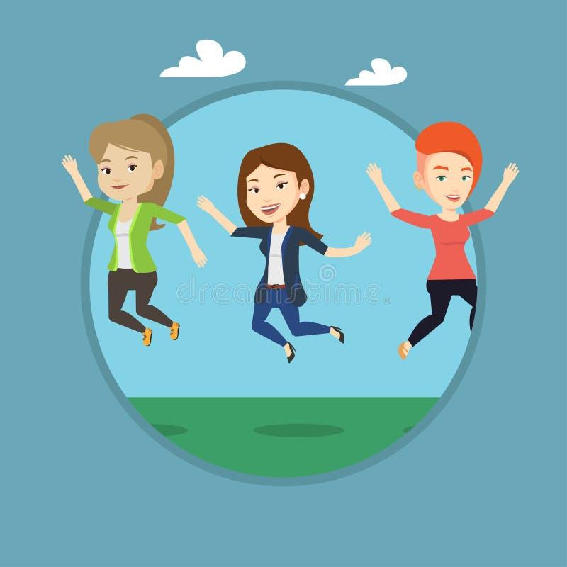 小组快乐年轻朋友跳跃 向量例证