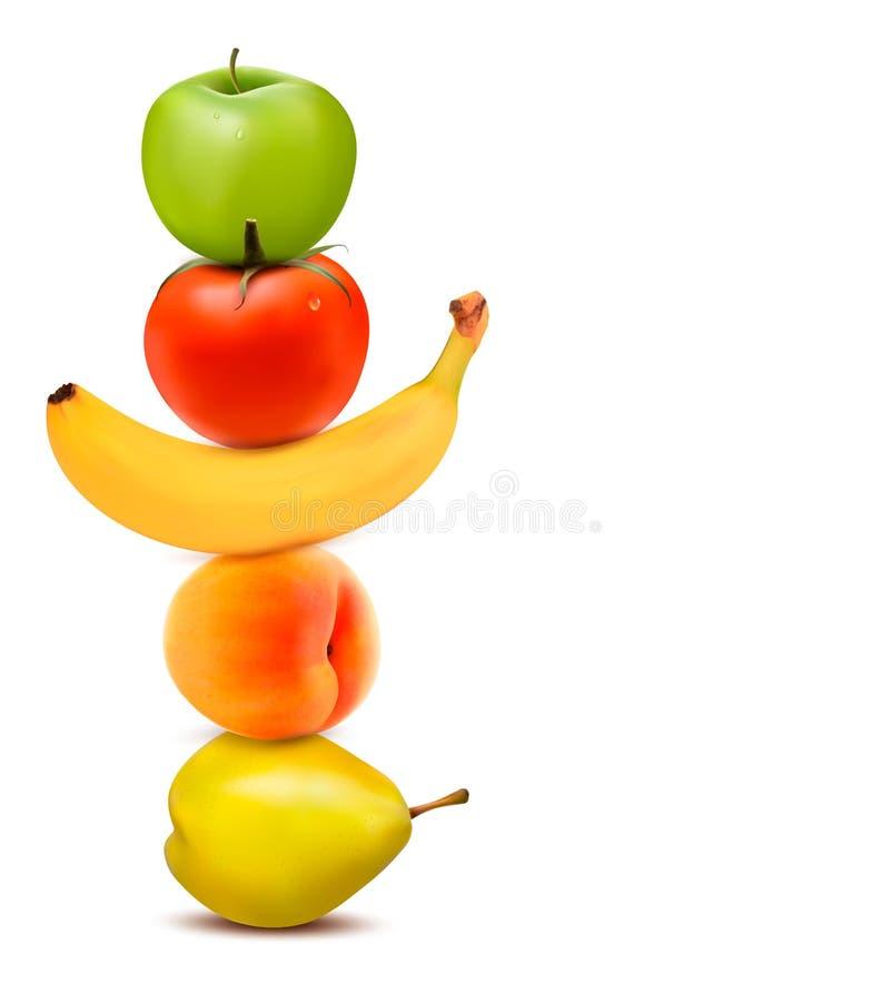 小组新鲜水果。节食的概念。 皇族释放例证