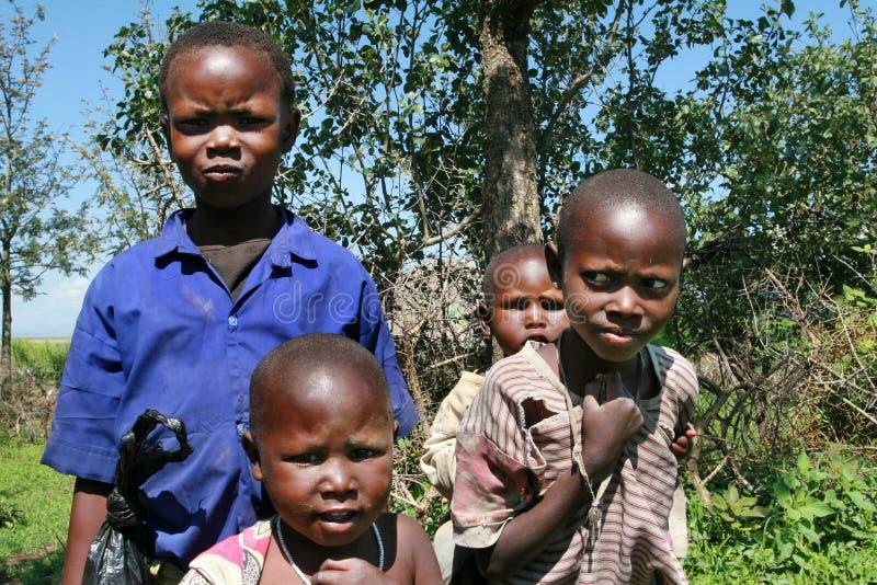 小组旧布的非洲黑人孩子Maasai 免版税库存图片