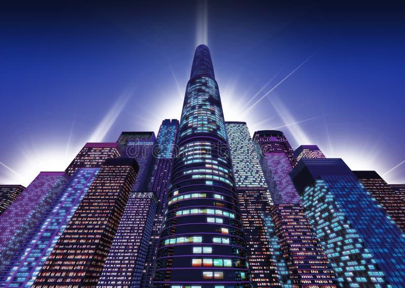 小组有一个主要塔的摩天大楼 库存例证