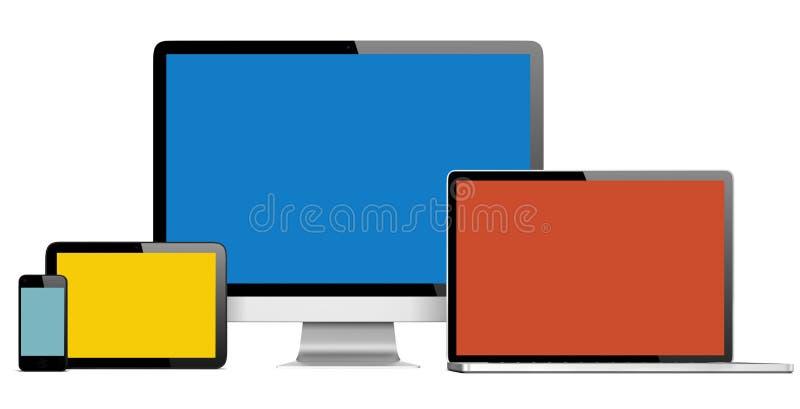 小组有五颜六色的屏幕的数字式设备 库存例证