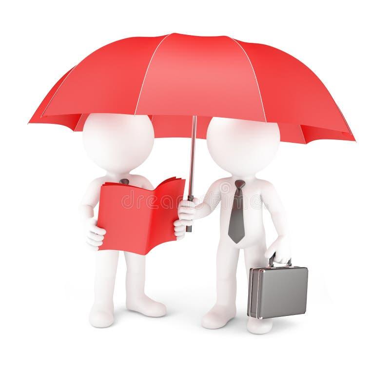 小组有伞和指南的商人 皇族释放例证
