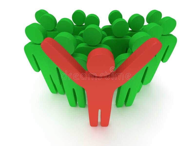 小组有teamleader的风格化绿色人 皇族释放例证