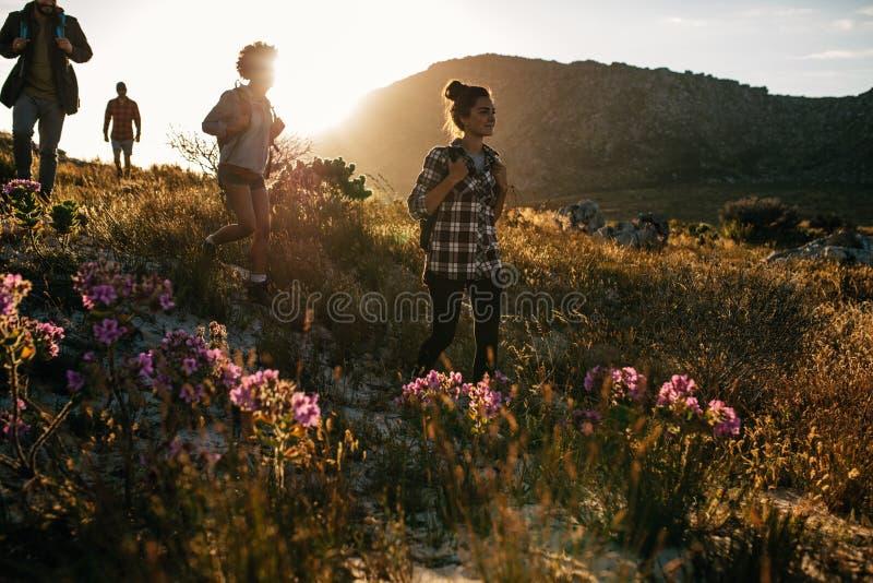 小组朋友在山步行 免版税库存照片
