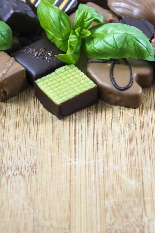 小组牛奶和黑暗的巧克力糖与蓬蒿在木头作为背景 免版税库存照片