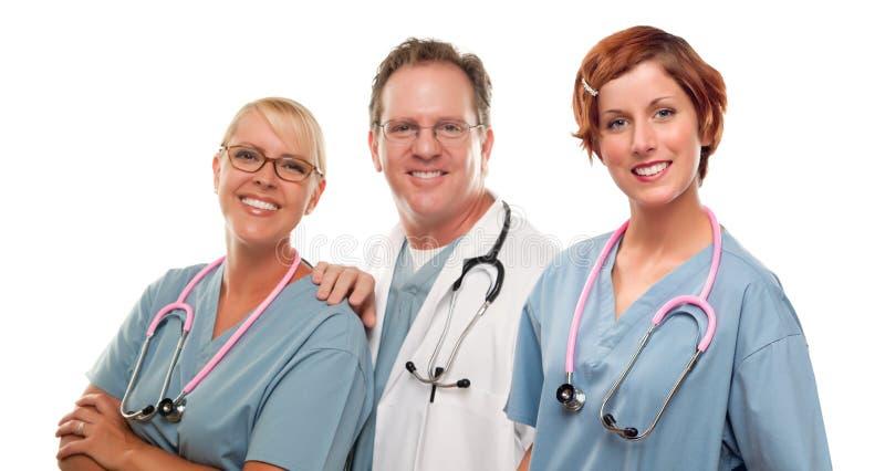 小组医生或护士白色背景的 免版税库存图片