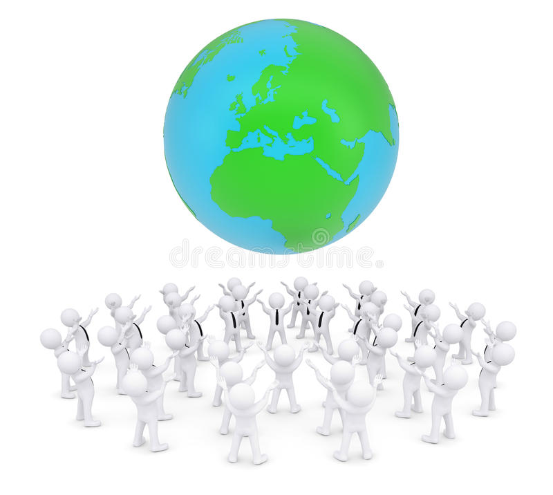 小组白人崇拜的地球 库存例证