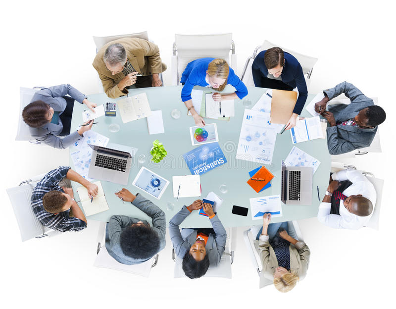 小组讨论的商人企业问题 免版税图库摄影