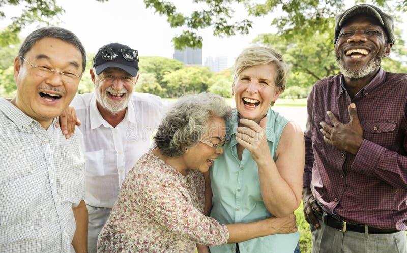 小组资深退休朋友幸福概念 库存照片