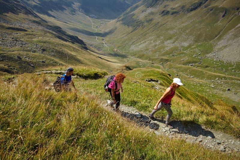 小组足迹的远足者 免版税图库摄影