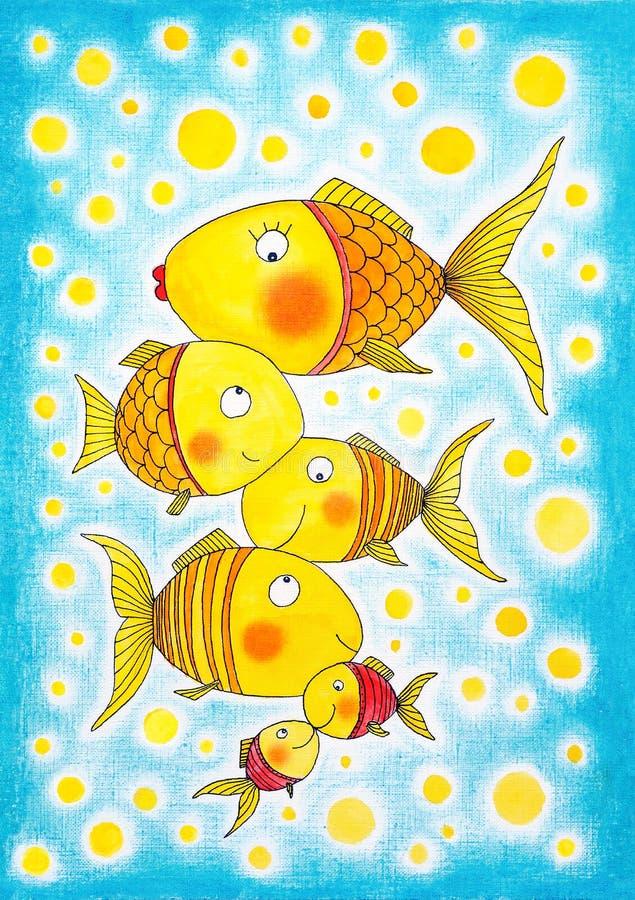 小组金鱼,儿童的图画,水彩绘画 皇族释放例证
