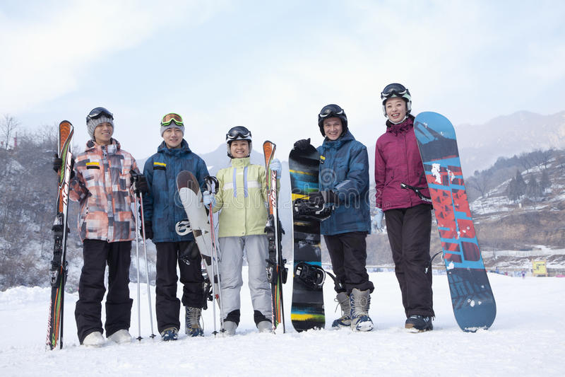 小组滑雪胜地的,画象挡雪板 免版税库存图片