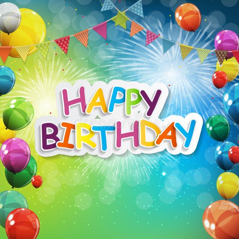 小组颜色光滑的氦气迅速增加背景 套气球和旗子为生日,周年, Celebratio 皇族释放例证