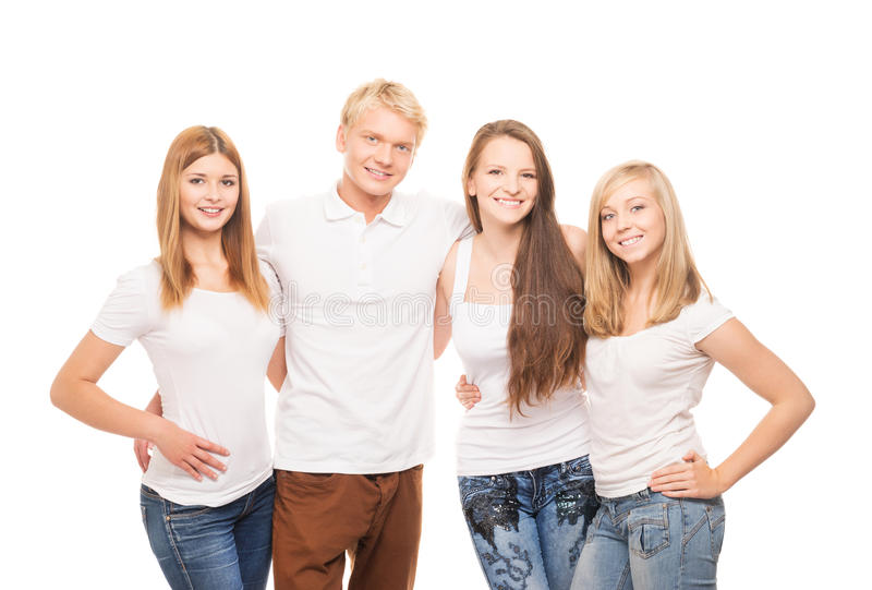 小组年轻,时髦和愉快的少年 免版税库存图片