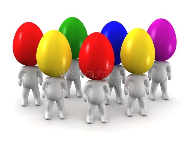 3D有色的复活节彩蛋头的人 库存例证