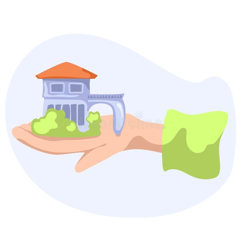 小countryhouse在手边 在白色背景的乡间别墅平的传染媒介例证 房地产出售购买或租 库存例证