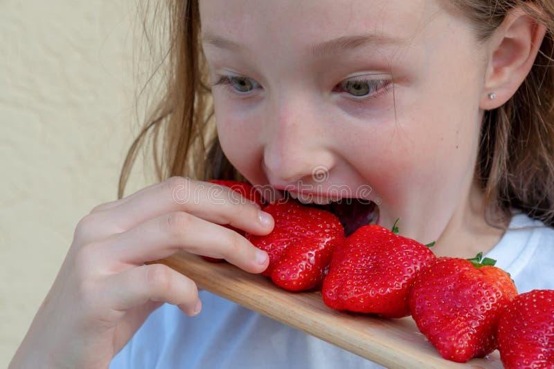 少女吃草莓 在孩子的过敏 从草莓的红脸 免版税库存照片