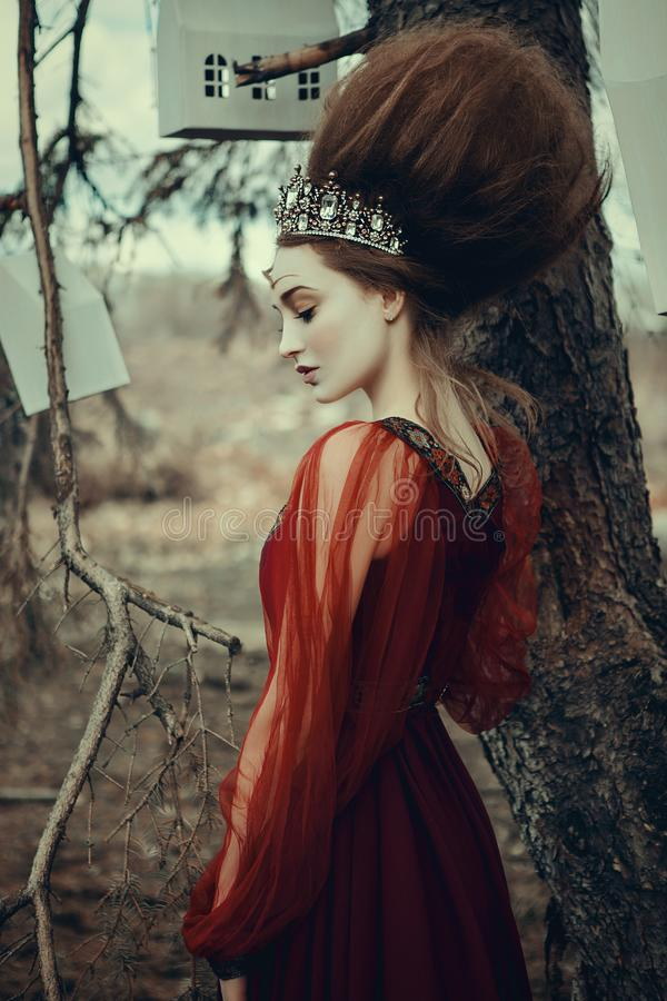 少女在有创造性的发型的一件红色礼服摆在 库存照片