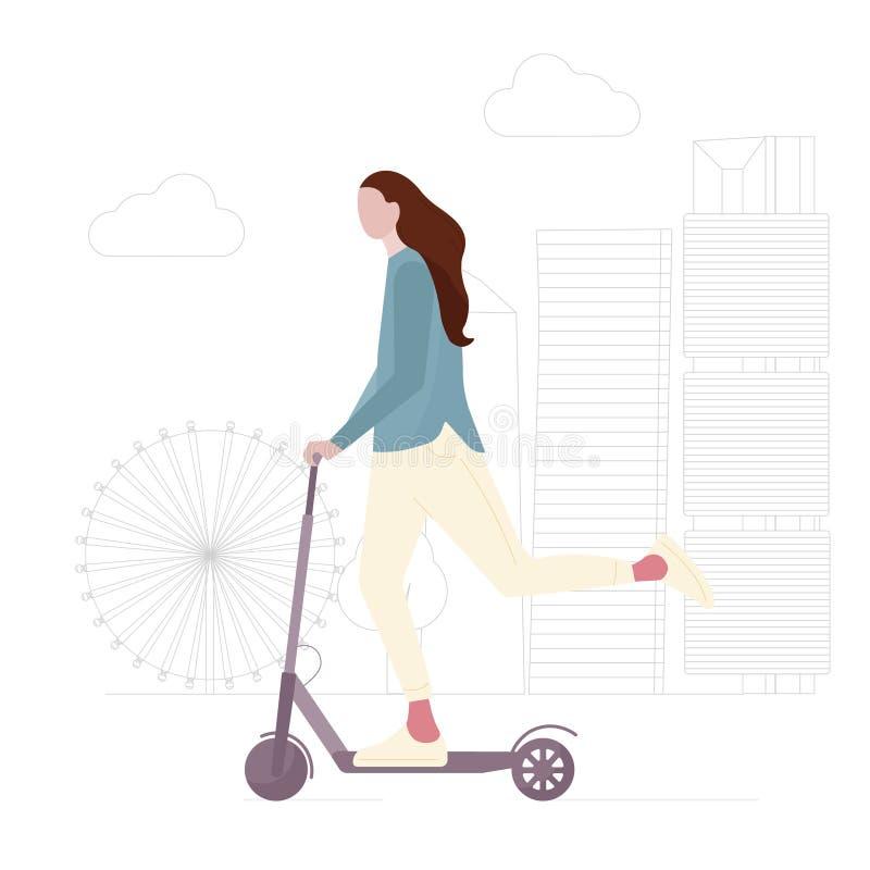 少女在电滑行车传染媒介例证乘坐 皇族释放例证